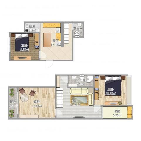 金家村288号院4室2厅2卫1厨88.00㎡户型图
