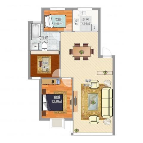 金谷小区3室1厅1卫1厨95.00㎡户型图