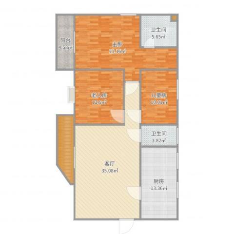 东安花园3室1厅2卫1厨143.00㎡户型图