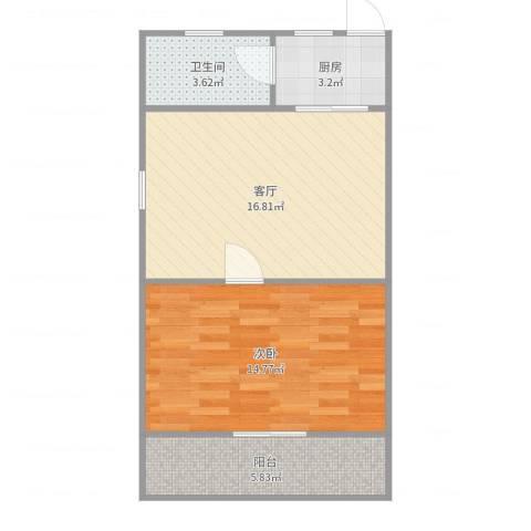 真光九街坊1室1厅1卫1厨55.00㎡户型图