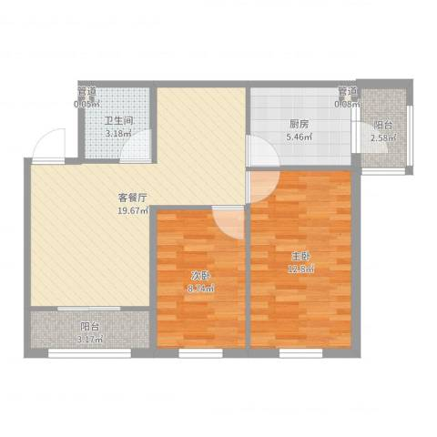 香悦蓝天下2室2厅1卫1厨70.00㎡户型图