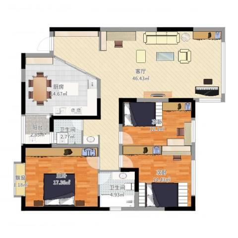名都凯旋城3室1厅2卫1厨146.00㎡户型图