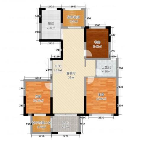大地香漓湾3室2厅1卫1厨114.00㎡户型图