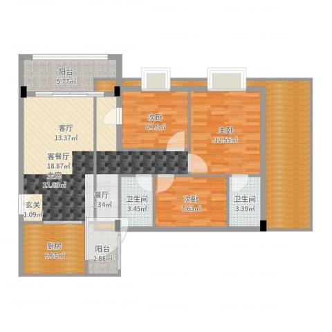 天盛花园3室2厅2卫1厨118.00㎡户型图