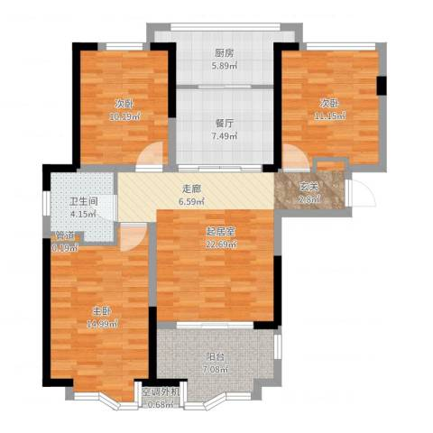 奥克斯盛世华庭3室1厅1卫1厨106.00㎡户型图