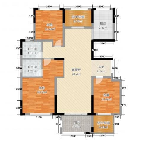 大地香漓湾3室2厅2卫1厨144.00㎡户型图