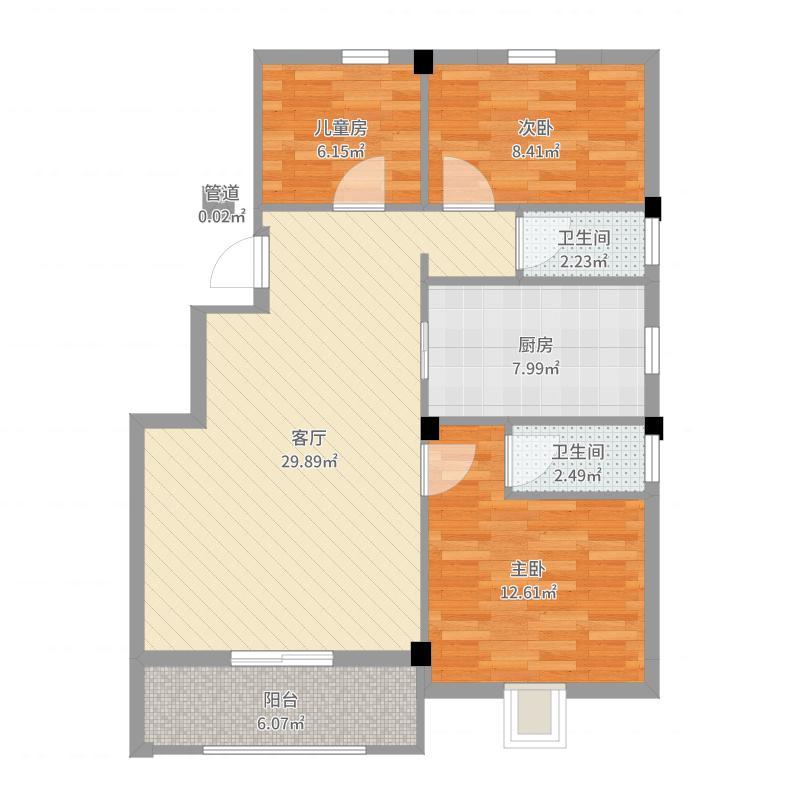 亚特蓝郡户型图G1/G2户型 3室2厅1卫-副本户型图