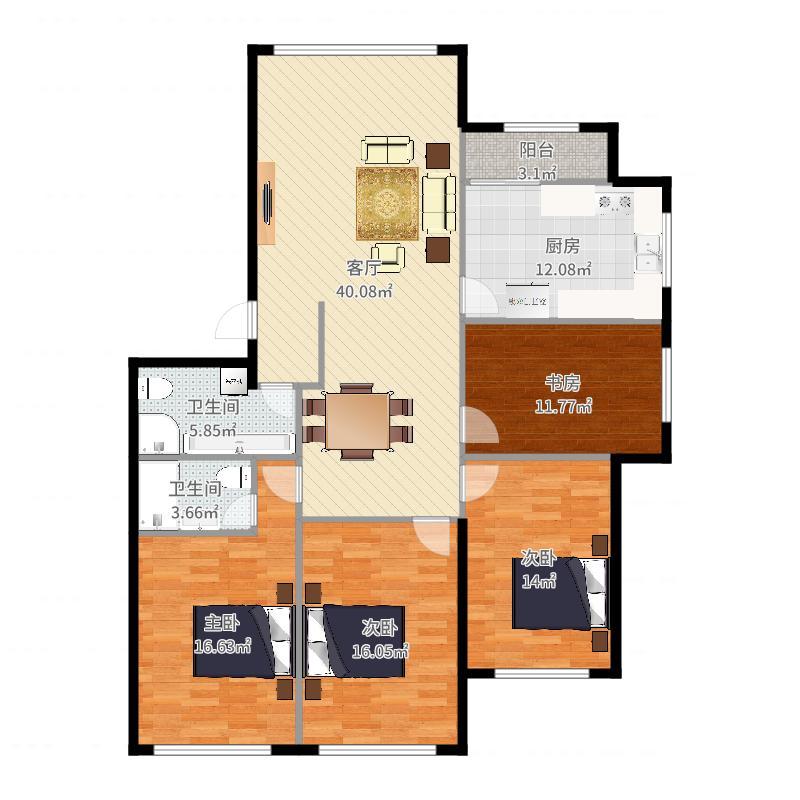 实际室内面积图(自量墙内线)-计划方案户型图