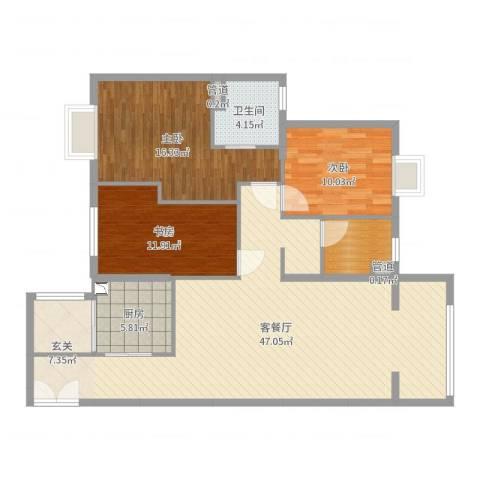高盛金融中心3室2厅1卫1厨128.00㎡户型图