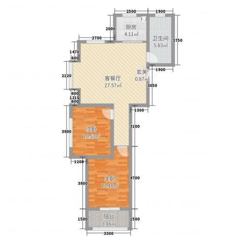 新东方家园2室2厅1卫1厨92.00㎡户型图