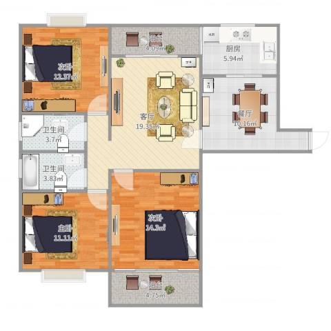 田林亲家3室2厅2卫1厨112.00㎡户型图