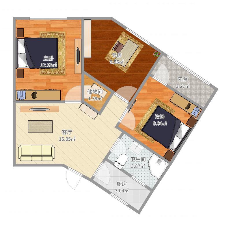 宜山路655弄05室小三房户型图户型图