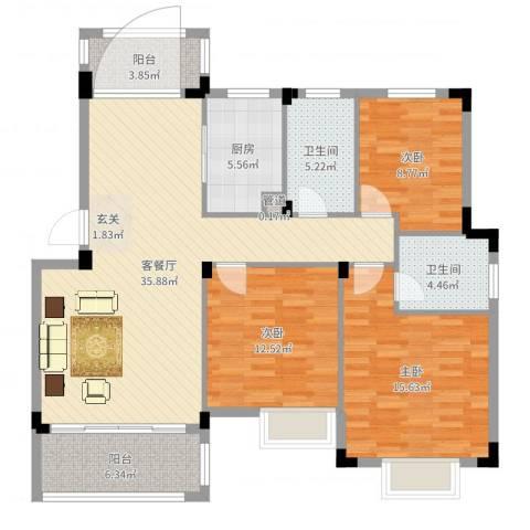 鸿威鸿景雅园3室2厅2卫1厨123.00㎡户型图