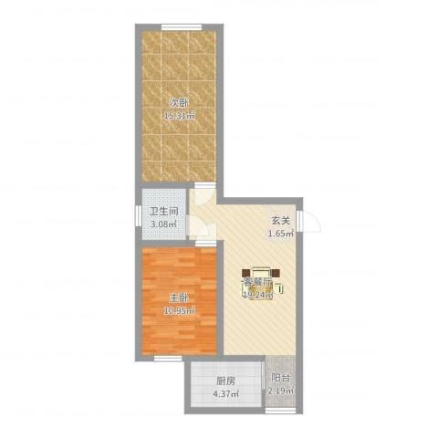 幸福小镇2室2厅1卫1厨66.00㎡户型图