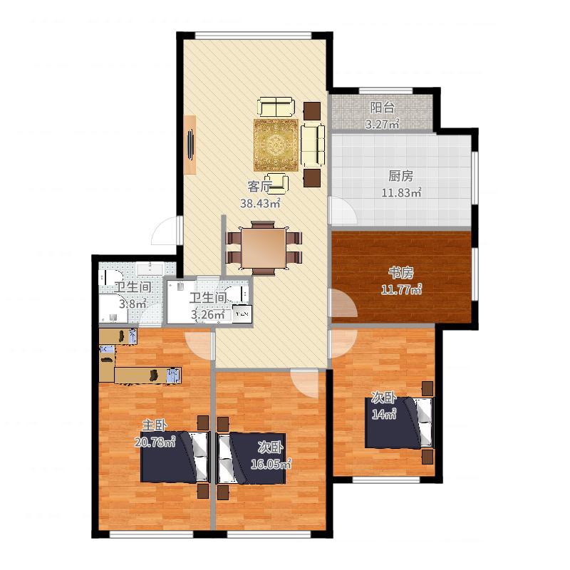 实际室内面积图(自量墙内线)-副本户型图