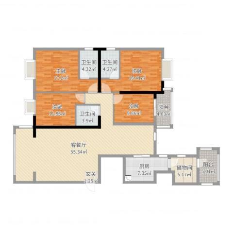 钻石海岸4室2厅3卫1厨181.00㎡户型图