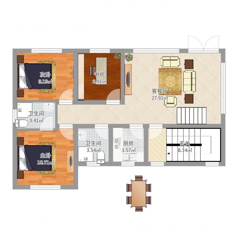 90平地基12.4-设计1楼户型图
