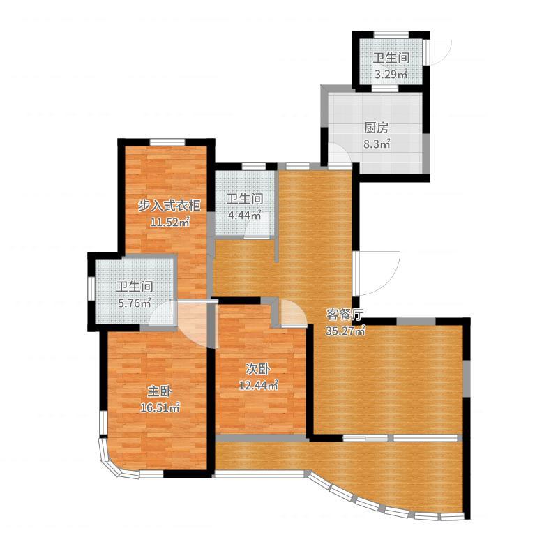 常工城尚城143.00㎡8#楼标准层平面图户型2室1厅3卫1厨户型图