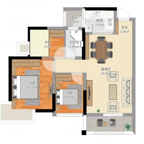 田禾卢浮公馆3室2厅1卫1厨78.00㎡户型图