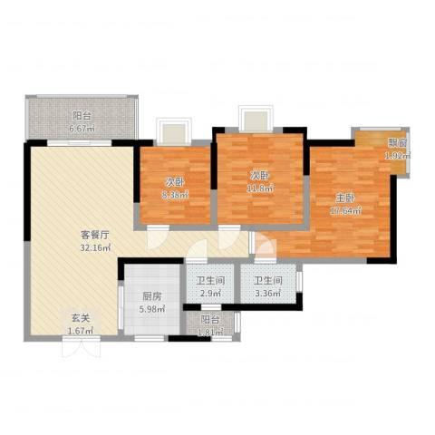 江山假日3室2厅2卫1厨113.00㎡户型图