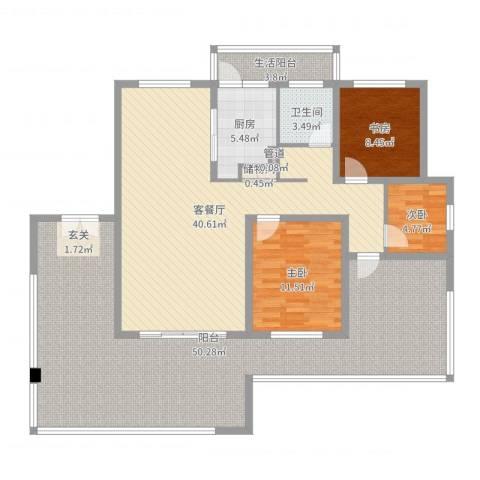 乐仙小镇3室2厅1卫1厨161.00㎡户型图