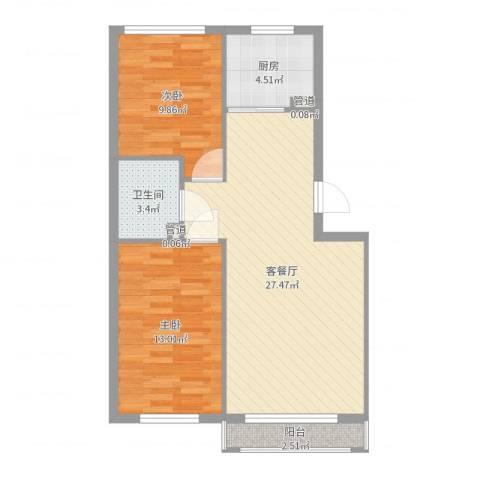 俪水豪庭2室2厅1卫1厨76.00㎡户型图