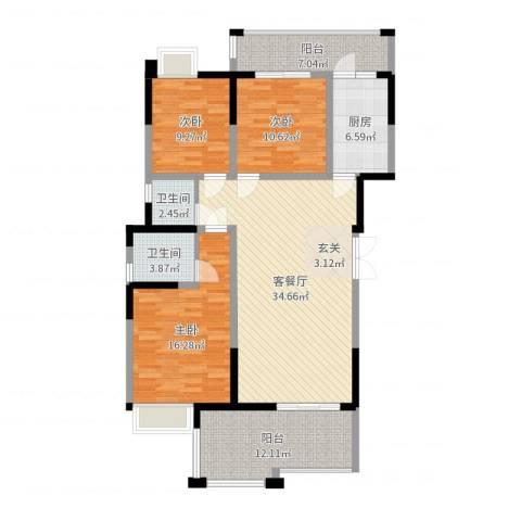 香槟庄园3室2厅2卫1厨129.00㎡户型图