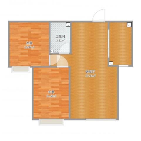 香缇苑2室2厅1卫0厨75.00㎡户型图
