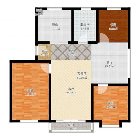 御景山庄3室2厅1卫1厨146.00㎡户型图