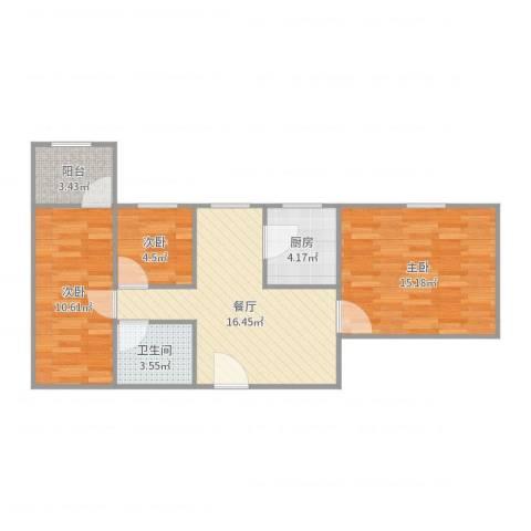 东苑小区3室1厅1卫1厨72.00㎡户型图