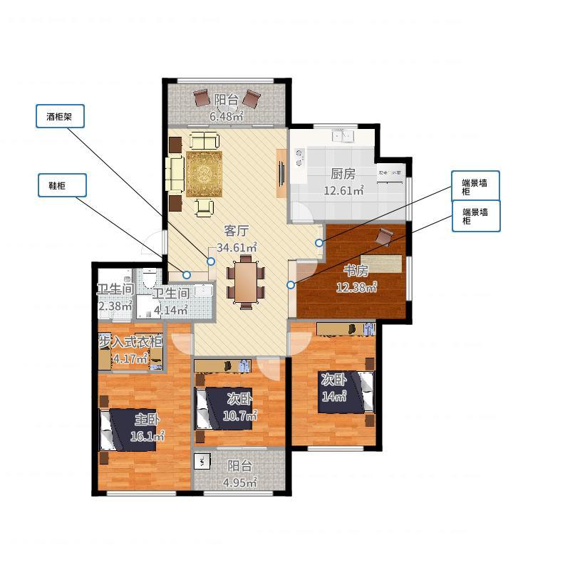 实际室内面积图(自量墙内线)-副本-副本-副本户型图