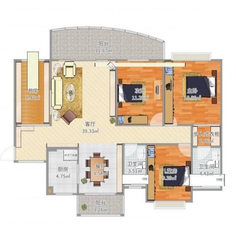 中澳新城景湖居4室1厅2卫1厨140.00㎡户型图