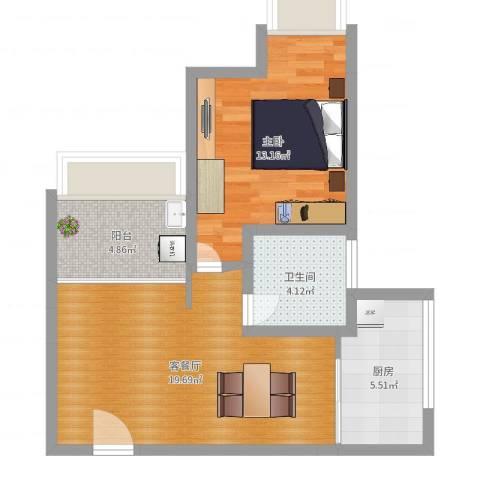银康苑(一室一厅1)1室2厅1卫1厨59.00㎡户型图