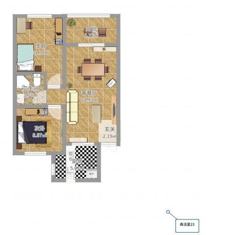 秀兰森活里2室2厅1卫1厨74.00㎡户型图