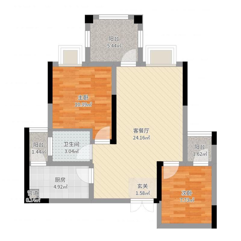 格兰美景27.72㎡效果图户型2室2厅1卫1厨户型图