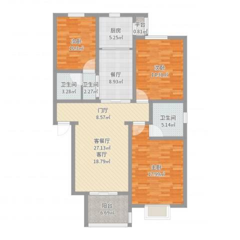 金润华府3室2厅2卫1厨125.00㎡户型图