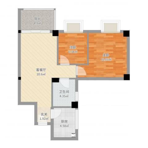 桃源明居2室2厅1卫1厨67.00㎡户型图