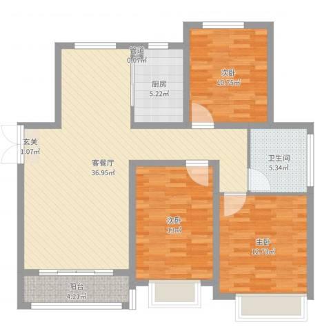 淮海・东城御景3室2厅1卫1厨110.00㎡户型图