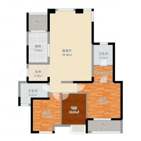 金地澜悦3室2厅2卫1厨152.00㎡户型图