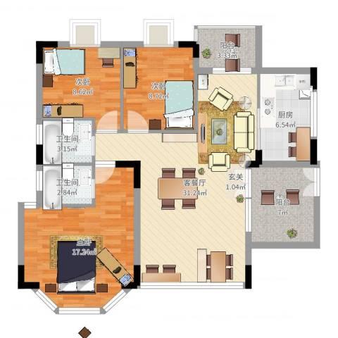 文华花园3室2厅2卫1厨111.00㎡户型图