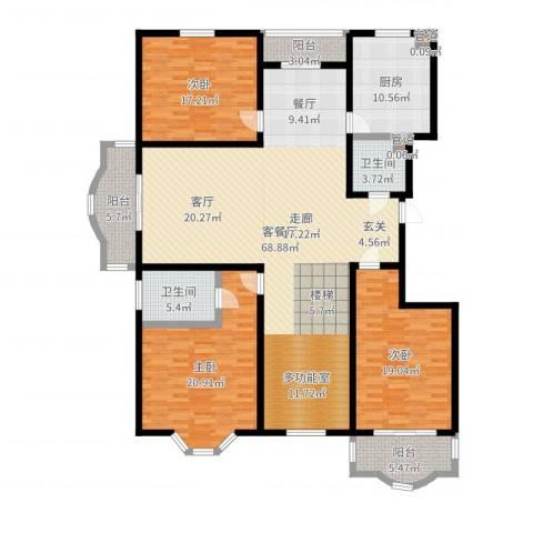 华宇绿洲二期3室2厅2卫1厨200.00㎡户型图