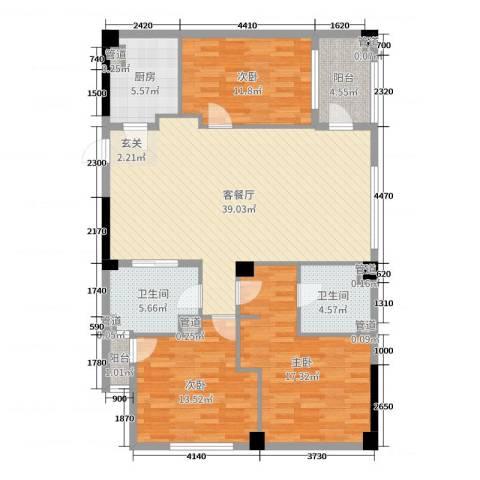 恒元悦庭3室2厅2卫1厨130.00㎡户型图