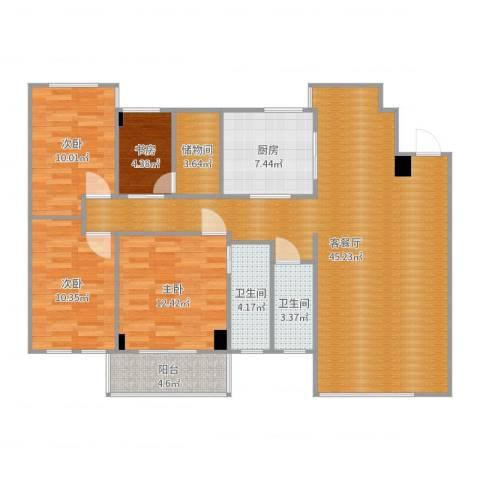 南湖花园二期4室2厅2卫1厨132.00㎡户型图