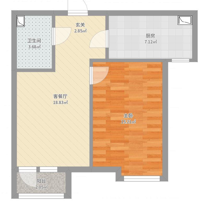 路劲国际城59.23㎡D-4一居户型1室1厅1卫1厨户型图