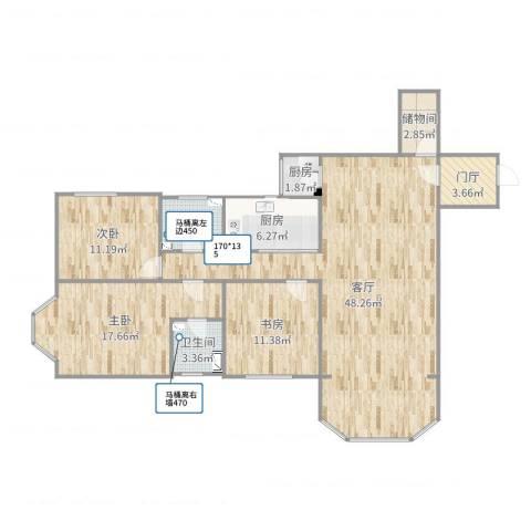 明泉公寓3室1厅2卫2厨138.00㎡户型图