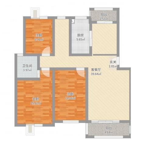 香林・丽景湾3室2厅1卫1厨118.00㎡户型图