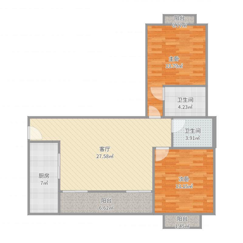 90.6方b5户型两室两厅户型图