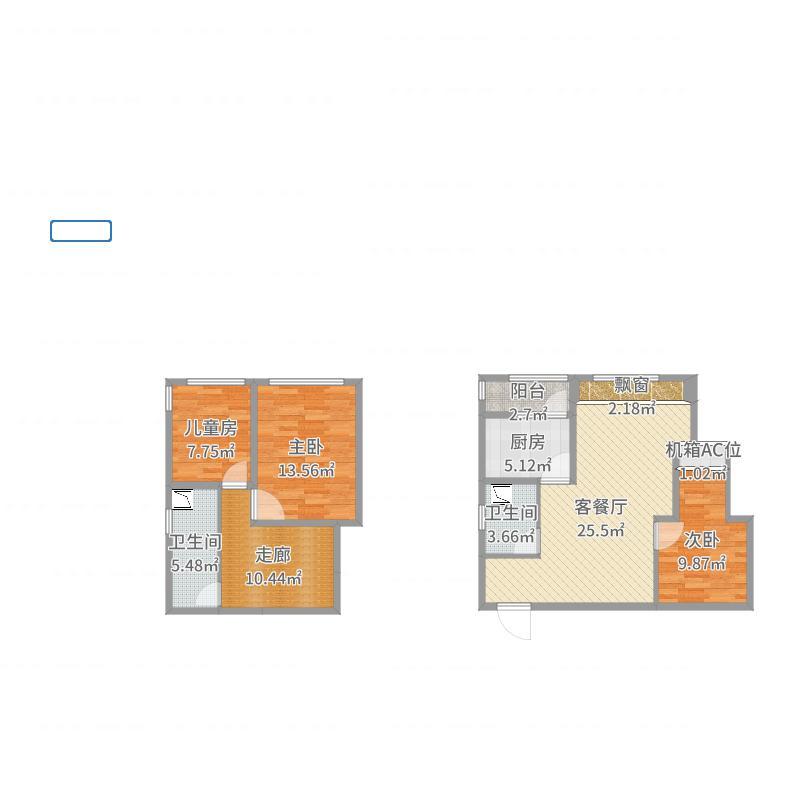 奥园盘龙壹号E3户型(套内69.08)户型图