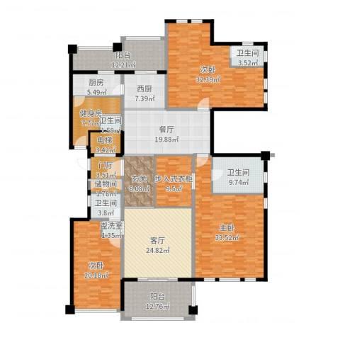 金地佘山天境3室2厅4卫1厨278.00㎡户型图