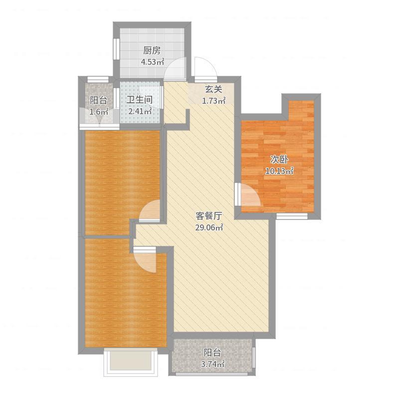 润德天悦城2-2-502户型图